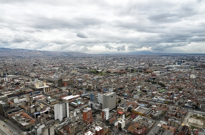 Aerial view to Bogota and Suidad Bolivarunder tragic rainy sky